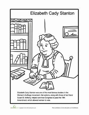 elizabeth cady stanton worksheet education 862 | elizabeth cady stanton coloring page
