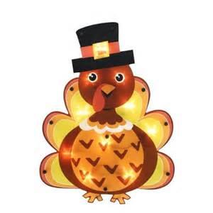 16 quot lighted thanksgiving turkey with pilgrim hat window silhouette decoration walmart com