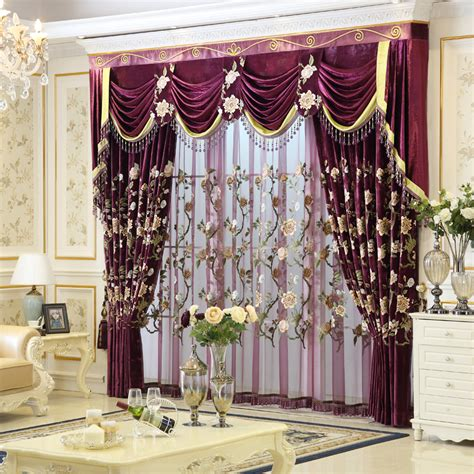 2016 new arrival luxury embroidered purple curtains and
