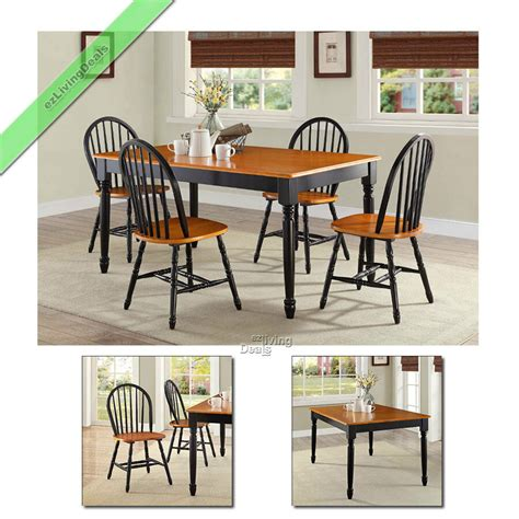 farmhouse dining room set  pc table  chairs wood country