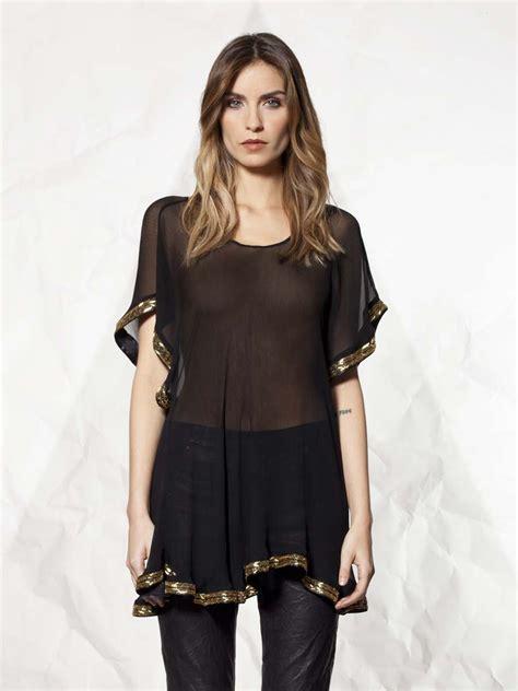 s sheer blouses winter kate sheer beaded blouse in black lyst
