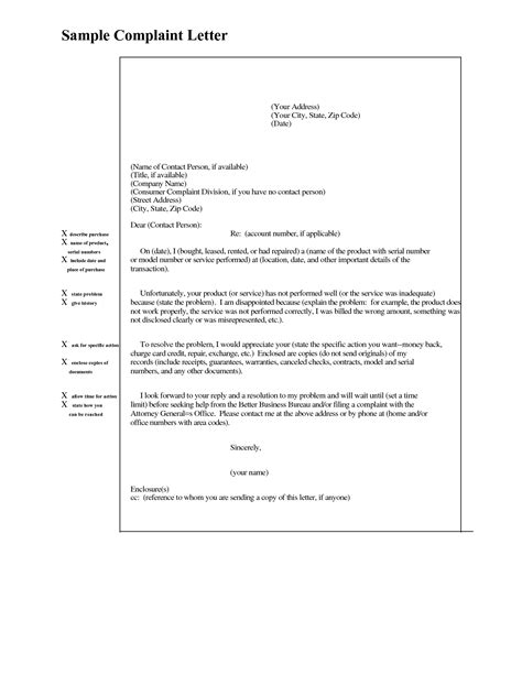 Best Photos of Sample Complaint Letter Example - Sample