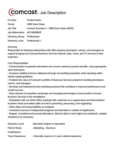 Direct Sales Resume by Comcast Has Opening For Account Executive 1 Smb Direct