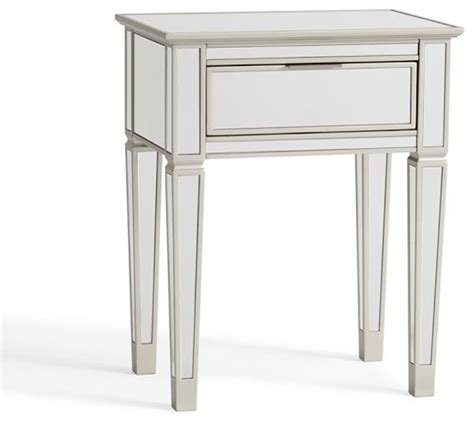 Mirrored Nightstands Cheap by Park Mirrored 1 Drawer Bedside Table Traditional