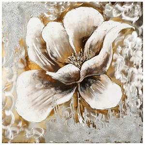 Peinture Beige Doré : tableau fleur 70x70 argent dor ajout d 39 l ments m tal ~ Zukunftsfamilie.com Idées de Décoration