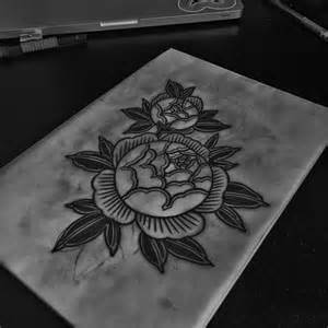 Etching Flower Tattoo