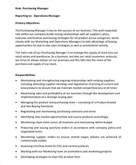 purchasing manager job descriptions  docs