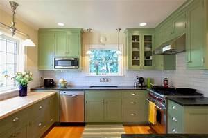 gorgeous craftsman kitchen design with green painted kitchen cabinet and white tile backsplash also dark granite countertop 2243
