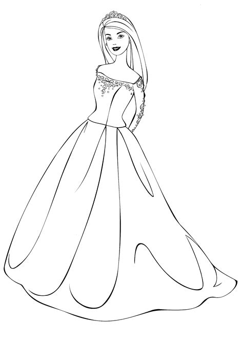 coloring page barbie   wedding dress