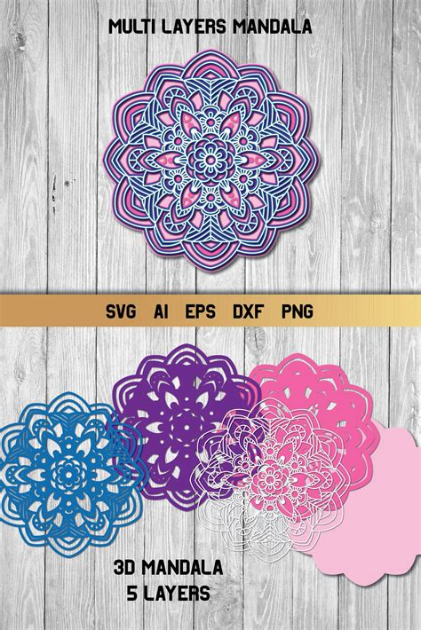 How to make 3d mandalas with free svg files the 12 x 12 3d mandala. 3d Layered Mandala, Multi Layer SVG, Cut File (554115 ...