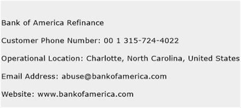 phone number for bank of america bank of america refinance customer service phone number