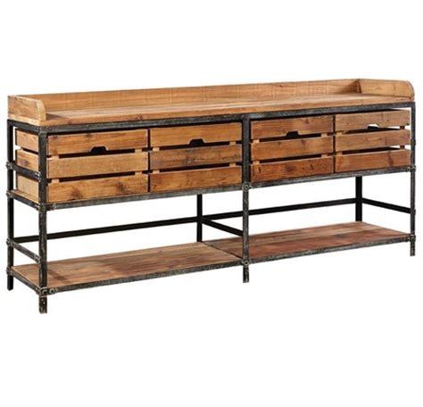 breeland industrial metal wood sideboard  storage