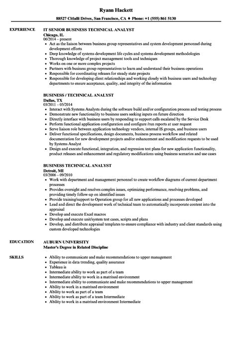 Sle Resume For Technical Lead by Business Technical Analyst Resume Sles Velvet