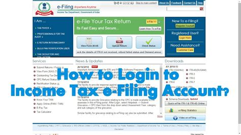 1 first and foremost you are required to open the income tax india efiling government website which is. How to Login to Assessee Account in Income Tax e-Filing website? - YouTube