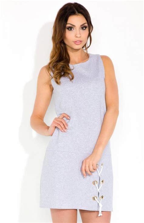 fobya f299 sukienka szara kobieca sukienka wykonana z
