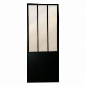 Porte coulissante vitrée Atelier 83 cm Castorama