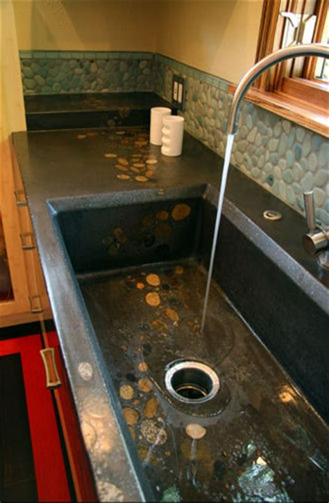 concrete kitchen sink gorgeous concrete sink with embedded rocks home decor 2431