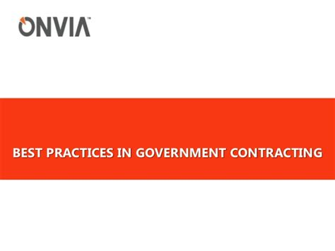 Government Contracting Best Practices