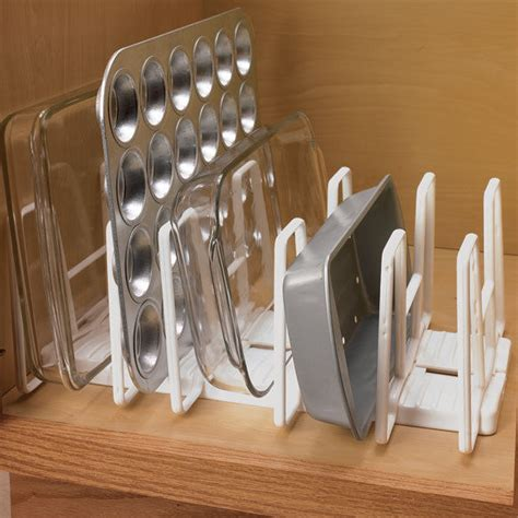 kitchen cabinet pan organizer adjustable 6 slot kitchen cabinet bakeware lid pan plate 5647