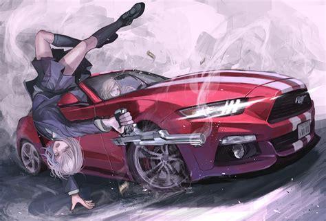 Anime Car Wallpaper - fondos de pantalla pistola anime chicas anime cabello