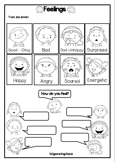 feelings emotions worksheetbilgeceingilizce english