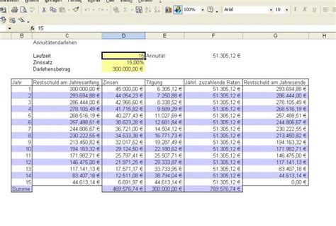 kostenloses excel tool kreditrechner berechnung