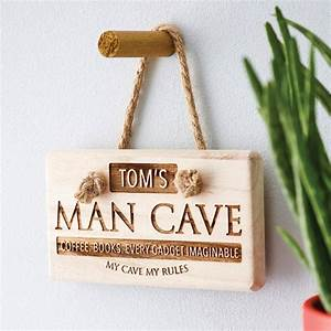 Personalised, U0026, 39, Man, Cave, U0026, 39, Wooden, Sign, By, The, Letteroom
