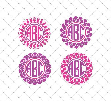 svg cut files  cricut  silhouette flower monogram frame files svg cut studio