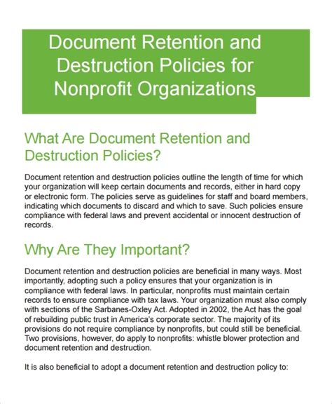 sample document retention policy  documents  word