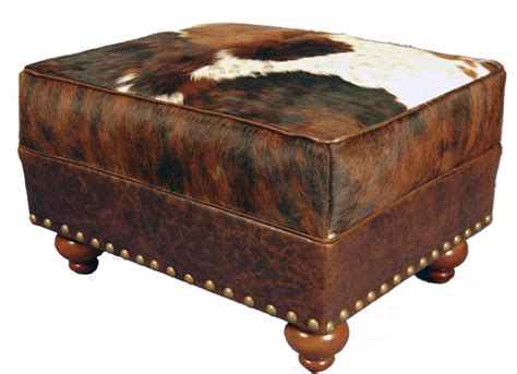 Cowhide Ottomans by Brindle Cowhide Leather Ottoman