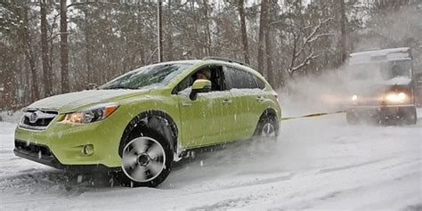 Subaru Crosstrek Snow by Subaru Xv Crosstrek Hybrid Vs Ups Truck In The Snow Who