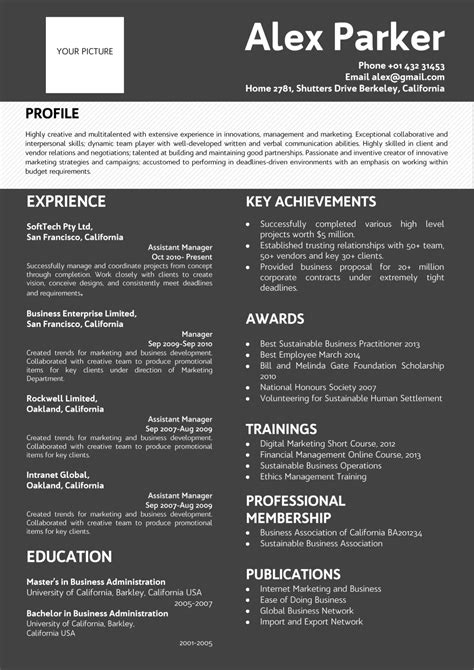 professional dark background resume black white color