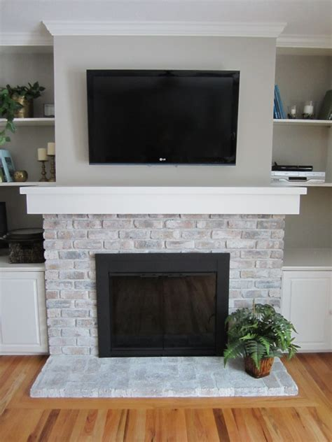 fireplace paint the crux grey paint wash on a brick fireplace before after