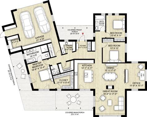 Modern Bathroom Floor Plans by Modern Style House Plan 3 Beds 2 5 Baths 2116 Sq Ft Plan