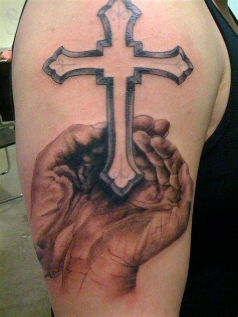 Hands With Cross Tattoo On Shoulder  Hand Tattoos