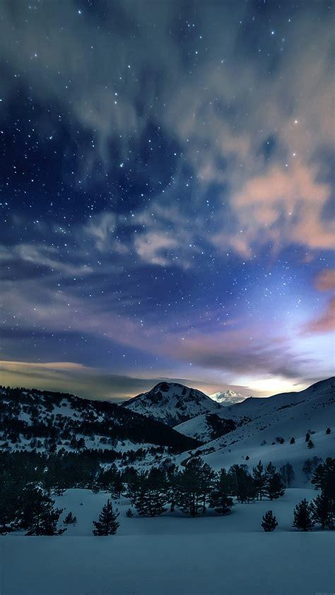 mk aurora star sky snow mountain winter nature papersco