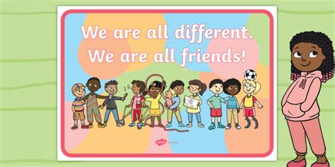 * New * We Are All Different We Are All Friends! Display Poster Originals