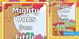 mighty oaks from acorns grow display banner tree leaf identification display posters woodland leaf tree