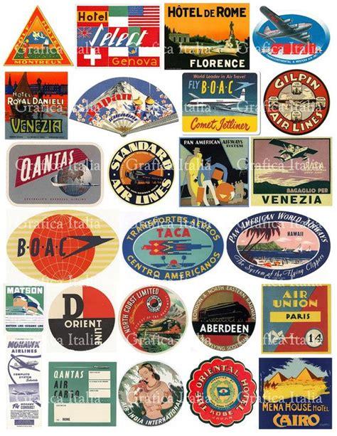 travel luggage stickers retro digital printable