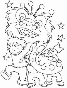 Young Children Celebrate Chinese New Year Coloring Pages Coloring Kids