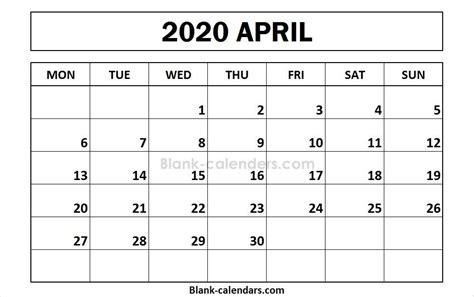 printable april calendar monday start calendar calendar