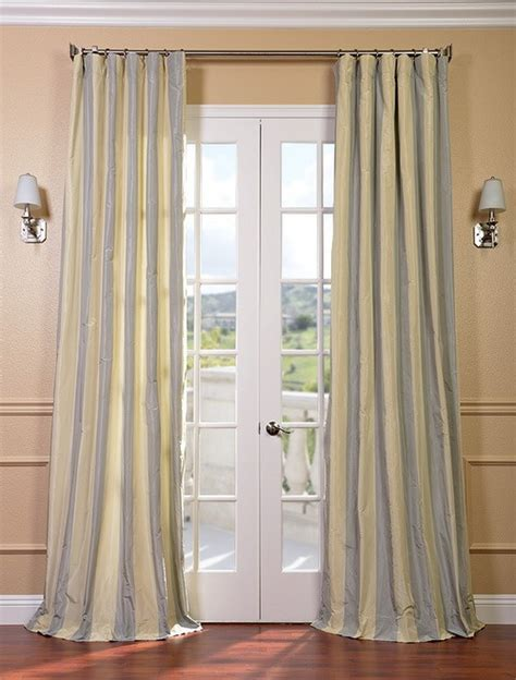 Silk Striped Drapes - hton faux silk taffeta stripe curtains drapes ebay