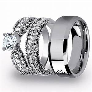 best 3 pcs mens tungsten womens stainless steel engagement With tungsten wedding rings for women