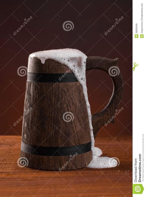 wooden beer mug  foam   dark red background stock image image  booze froth