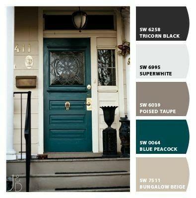 Blue Peacock  Front Door   House Paint Exterior