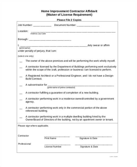 contractor affidavit forms   ms word excel
