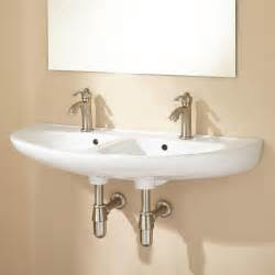 Single Sink With Two Faucets by Cassin Double Bowl Porcelain Wall Mount Bathroom Sink