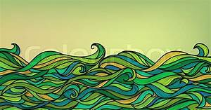 Abstract Waves Background  Vector Blue Green Orange