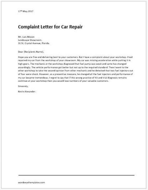 Complaint Letter for Illegal Parking | Word & Excel Templates