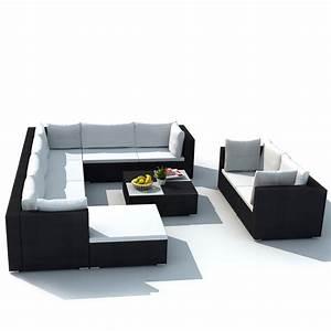 Polyrattan Lounge Set : gym equipment outdoor patio garden furniture sofa seat set poly rattan wicker black 10 pcs ~ Whattoseeinmadrid.com Haus und Dekorationen